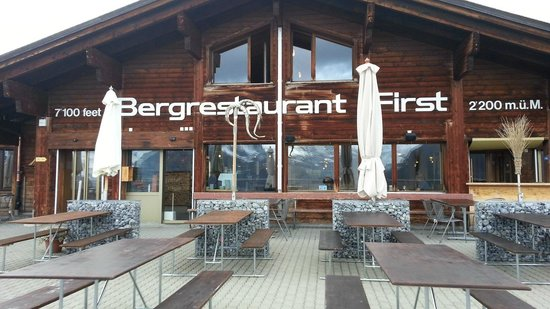 Berggasthaus First: Deck, room for many!    - First