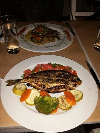 Papagalos Restaurant: Grilled silver bream dish and Traditional lamb dish