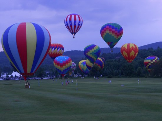 The Village Green at Stowe: Balloon launch - some go right over Village Green!
