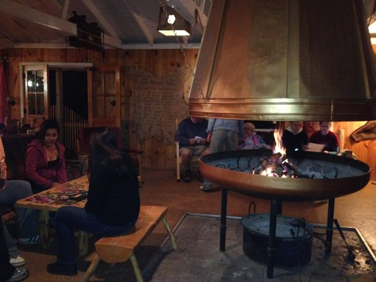 Majestic Dude Ranch: some fun and relaxing near the dining hall fireplace