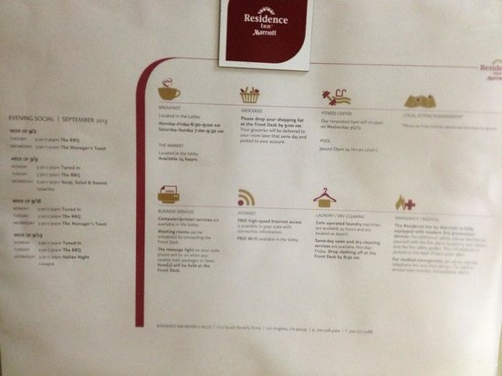 Residence Inn Beverly Hills: Special Services