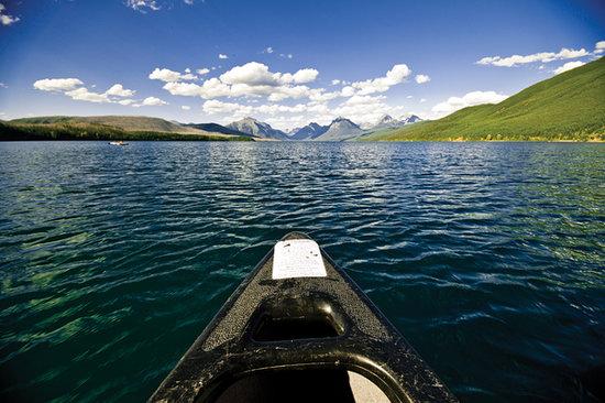 Canoe on Lake McDonald in Glacier National Park