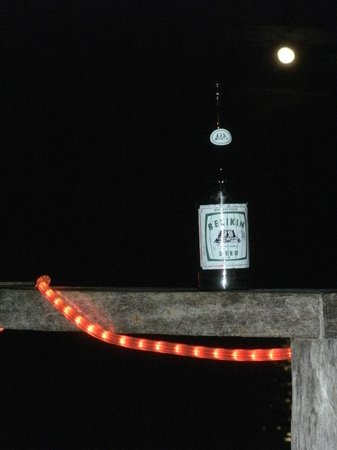 Asha's Culture Kitchen: Asha's deck, a local beer and a full moon - hard to beat