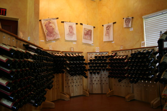 Damiani Wine Cellars: Red Racks with Art