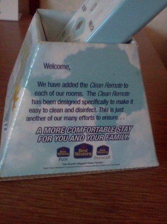 BEST WESTERN Inn at Blakeslee-Pocono : cleanable remote