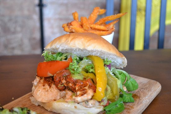Green Chimney: Super Tasty Chicken Burger With Coriander, Lime & Chilli - And Sweet Potato Fries.