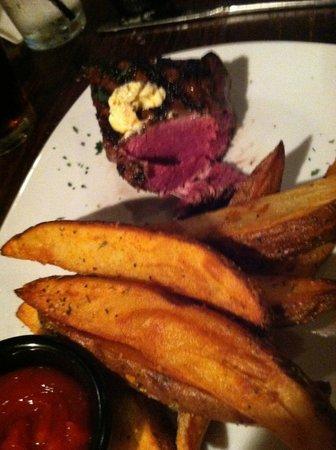 Bourbon Barrel Beef & Ale : Baseball Steak Rare with Steak Fries