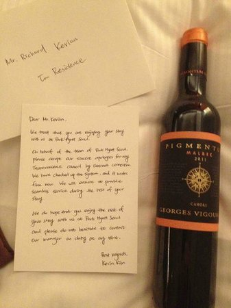 Park Hyatt Seoul: Letter from Manager and comp bottle of wine