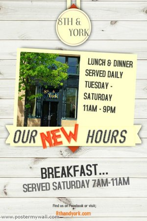 8th and York: New Fall Hours