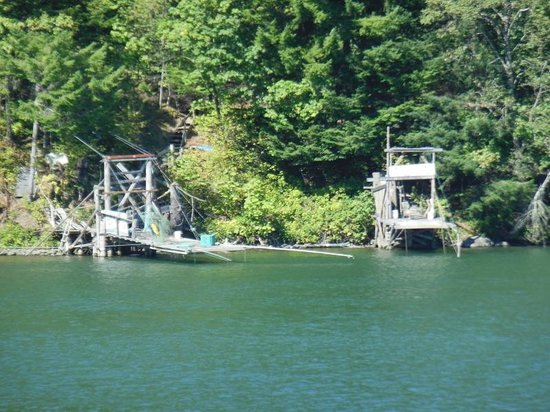 Vancouver, Waszyngton: A couple of the Indian fishing platforms that line the riverbank.