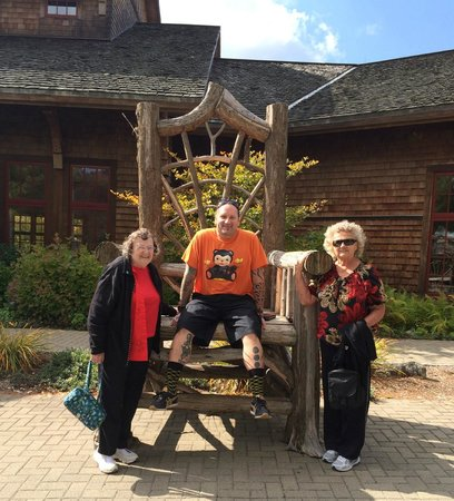 Adirondack Experience, The Museum on Blue Mountain Lake: front of museum with me, my aunt, and mom.