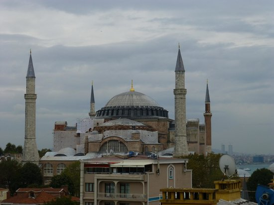 Hagia Sophia from our bedroom window at The Adamar Hotel