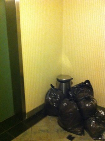 Quality Hotel Midtown : trash piled up in corridor
