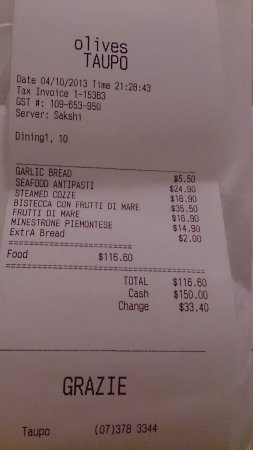 Olives Restaurant: soup are actually $15 and $17, they weren't so good for the price