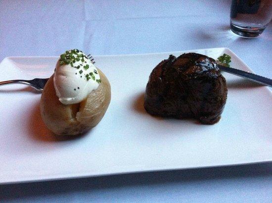 Rare Steakhouse Downtown: 200 gram (7 oz) Angus Prime eye filet and baked potato