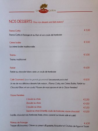 La Tapazzeria: Nos Desserts