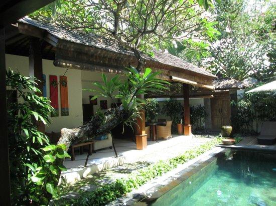 Ellora Villas: Aussenbereich mit Küche und Pool