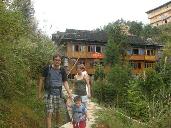 Yangshuo Private Tour-Day Tour: Pavol's family hiking at Dazhai village.