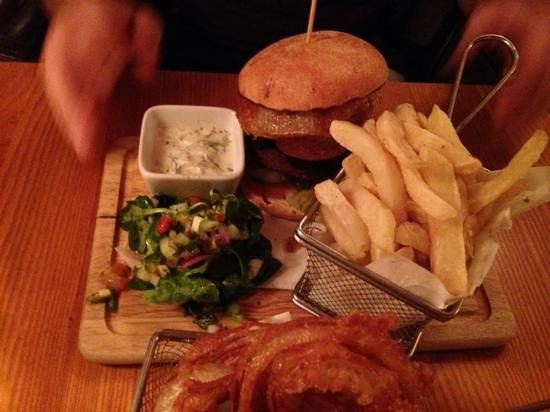 Swan Inn: delicious wild boar and chorizo burger with a homemade tzakziki dip