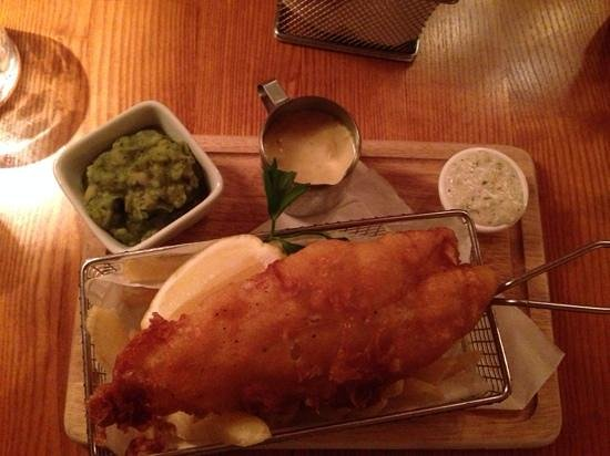 Swan Inn: fish and chips! always a winner- this just tops the list with minted mushy peas and homemade tar