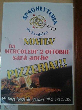 Spaghetteria Da Sandrino: dal 2 ottobre anche pizze e dal lunedì al giovedì pizza piu bibita 7 euro