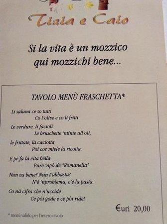 La Locanda di Tizia e Caio : menu fraschetta