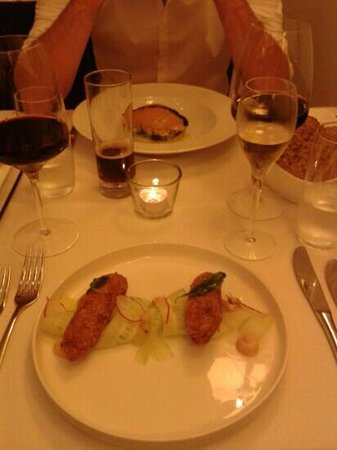 Klein Constantia: the nearest plate shows the shrimp crocquets, the other one the king ctab, which is also very go
