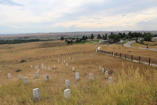 Little Bighorn Battlefield National Monument: Hauptfriedhof im Hintergrund