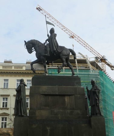 Wenceslas Monument : Wensceslas Monument with building construction in background