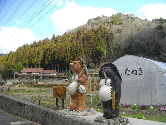 Nokaresutorantanuki : 入り口付近 たぬきがお迎え