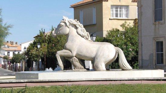 Hotel L'Abrivado: Fontana con cavallo bianco