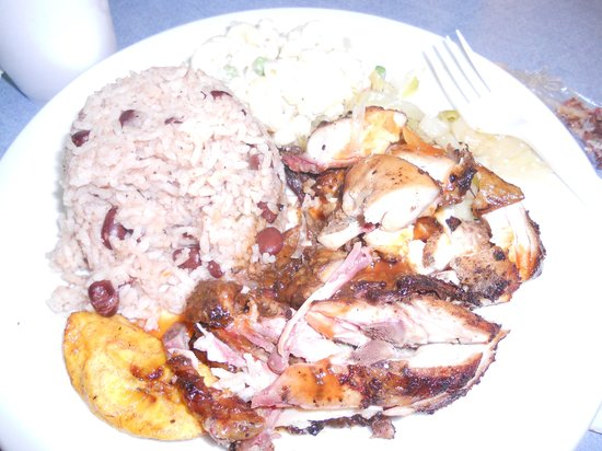 Rankin's Jerk Pit: Coleslaw, Pasta Salad, and Rice & Beans