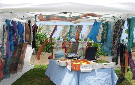 Ho'oulu Community Farmers Market: Booth of hand-painted silk and fresh fruit