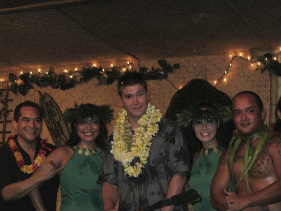 Tahiti Nui : our guest TJ with some members of the Hula troupe.