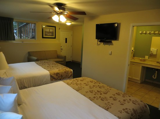 Murphy's River Lodge: Two large queen size beds don't fill up all the space in this large room