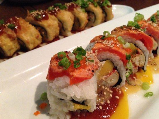Osamu Sushi: spicy tuna tempura roll & aburi roll