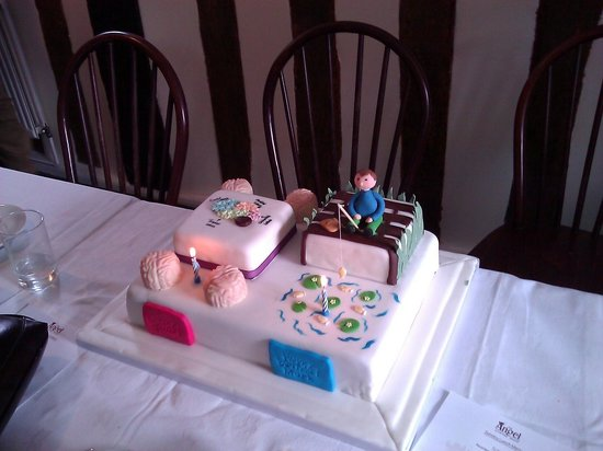 Birthday cake supplied by The Angel for joint birthday celebration