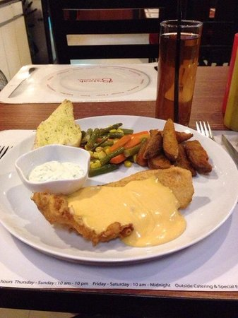 B'Steak Grill and Pancake: Deep fried dory fillet with melting cheese