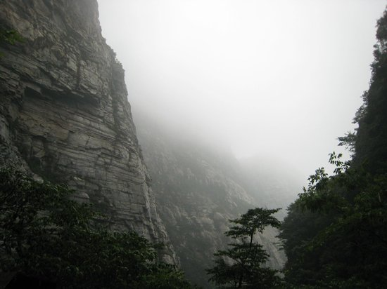 Lushan Waterfalls: Mist thickening and everything looks unreal.