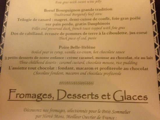 Le Petit Sommelier : menu
