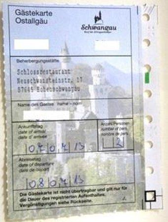 Schlossrestaurant Neuschwanstein: もらえる割引券(1割引で端数切捨)