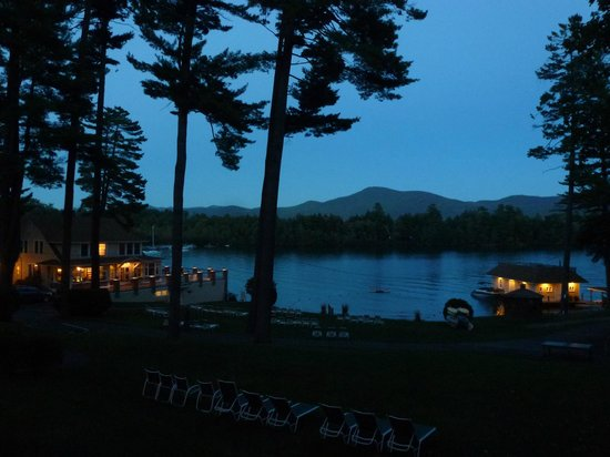 Chelka Lodge on Lake George: Evening view from deck outside room