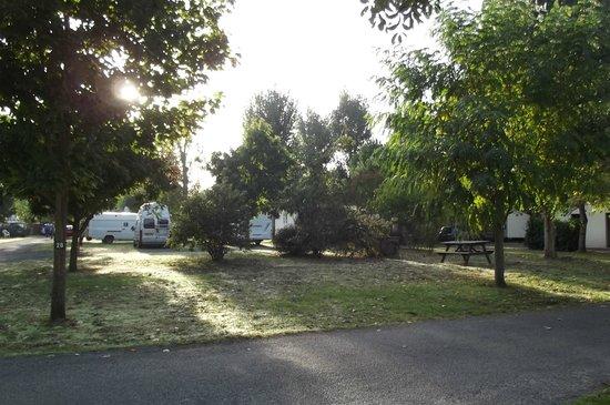 Camping Les Cercelles : une partie du camping depuis l'auvent