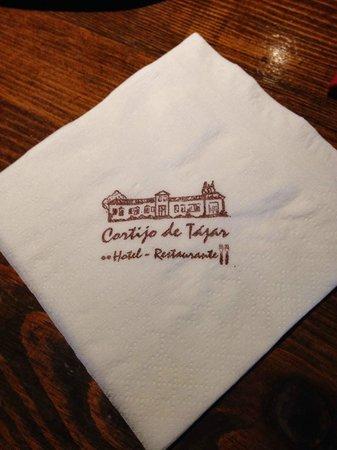 Cortijo de Tajar Restaurante: Servilleta del lugar.