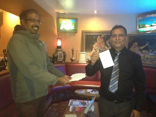 Moghul Indian Restaurant : Dada(Mr Eugene) during lucky draw for Botanic Rest, Our next Door Lodge