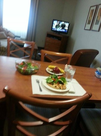 Candlewood Suites Austin N-Cedar Park : A yummy meal prepared right in the suite. Short walk to Target for fresh meats, fruits and all!