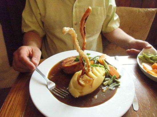 Drewe Arms: Pork with crunchy sticks, mash and veggies