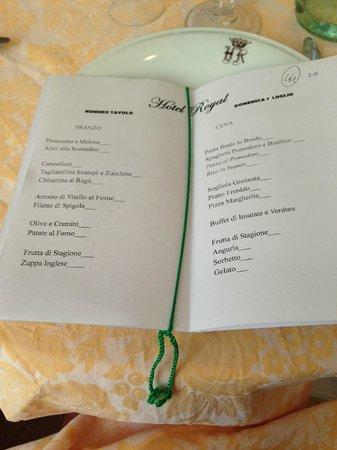 Hotel Royal: il menu' giornaliero  ogni!