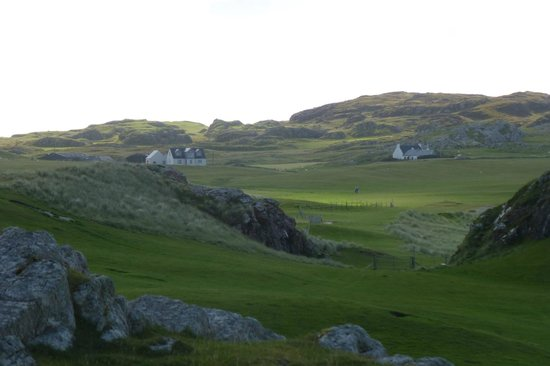 Skerryvore B&B: Looking back from the machair at Skerryvore on the left