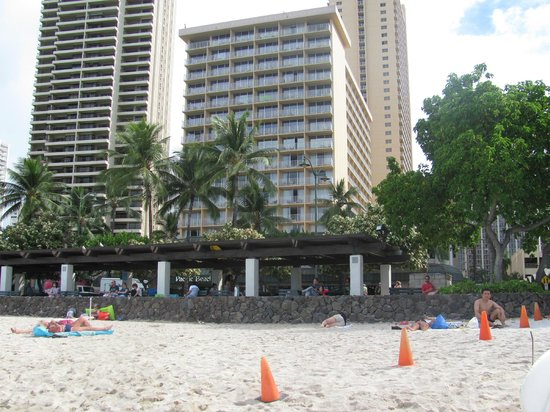 Pacific Beach Hotel: From Waikiki beach looking back at the hotel